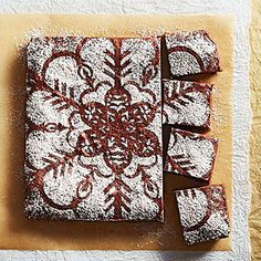Scandanavian Brownies - source: Midwest Living. Sadly, these have bad reviews at Midwest Living, but I love the decoration idea.