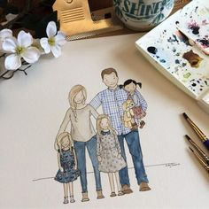 """Custom Family Illustration watercolor and ink (adoption) : """"➕be gentle with yourself• you're doing the best you can . . Oh these sweet girlies and their…"""""""