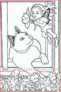 Coloring page of a cat leaning out of window to watch a fairy from Fairy Kids and Kittens coloring book.