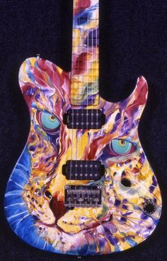 """Complete FAIL trying to attribute this great guitar to the Artist who painted it - no information except : """"cat painted guitar"""" ~ I would love to credit the artist so if anyone knows, please message me - thanks!"""