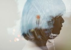 blue haired girl, double exposure portrait