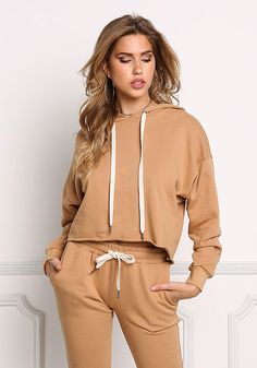Camel Cropped Hooded Sweater Top - New