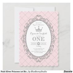 Pink Silver Princess 1st Birthday Party Crown Invitation