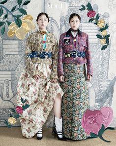 Han Hye Jin and Kim Won Kyung for Vogue Korea October 2016. Photographed by Hong Jang Hyun