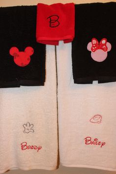 Mickey Mouse Minnie Mouse personalized embroidered towel set of 3 towels. $38.00, via Etsy.