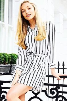 #carlie striped shirt dress