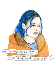 Clementine Kruczynski watercolor portrait PRINT Eternal Sunshine of the Spotless Mind Kate Winslet