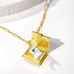 Book Locket (Magenta) // Gold-Dipped
