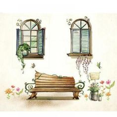 window chair and flowers painted wall stickers art decals wallstickers folies illusion