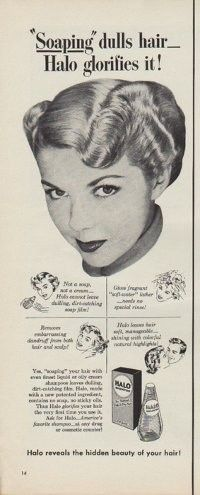 """Description: 1950 HALO SHAMPOO vintage print advertisement """"""""Soaping"""" dulls hair -- Halo glorifies it!"""" """"Not a soap, not a cream -- Halo cannot leave dulling, dirt-catching soap film! Halo reveals the hidden beauty of your hair!"""" Size: The dimensions of the half-page advertisement are approximately 5.5 inches x 14 inches (14cm x 36cm). Condition: This original vintage advertisement is in Very Good Condition unless otherwise noted ()."""