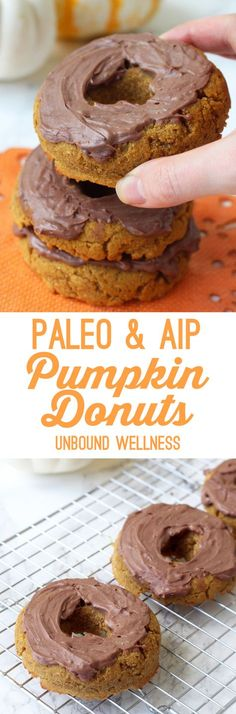 Paleo Pumpkin Donuts with Chocolate Frosting (AIP, Gluten free)