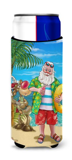 Beach Christmas Santa Claus Swimming Ultra Beverage Insulators for slim cans APH5150MUK