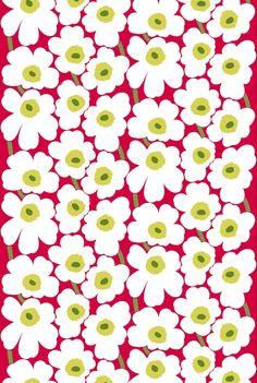 Marimekko fabric is delighful! Textile Patterns, Textile Design, Fabric Design, Pattern Design, Print Patterns, Textiles, Floral Patterns, Marimekko Fabric, Shibori