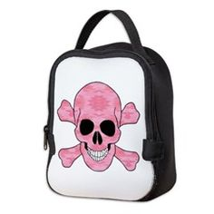 Pink Camouflage Skull And Cross Bones Neoprene Lun > Lunch Bags > Atteestude T-Shirts And Gifts  #school supplies