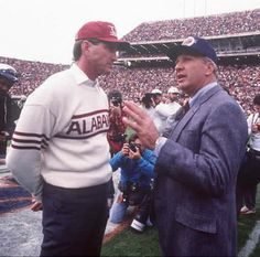 One of the greatest sporting events I have ever attended - 1989 The Iron Bowl comes to Auburn for 1st time. The UA win celebration results in trees along Magnolia & College being blanketed in toilet paper   - Bill Curry and Pat Dye before First Iron Bowl in Auburn 1989