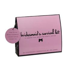 Bridesmaid's Survival Kit by @Krystal Bennett Provisions. Contains 20 must-haves: Folding Hair Brush with Mirror, Hair Spray, Clear Elastics, Bobby Pins, Earring Backs, Emery Board, Clear Nail Polish, Nail Polish Remover, Blotting Tissues, Mending Kit, Double-Sided Tape, Stain Remover, Static Remover, Breath Freshener, Deodorant Wipe, Tampon, Adhesive Bandages, Pain Reliever, Facial Tissues, and Dancing Socks #emergency #survival #kit #wedding #bridesmaid #gift