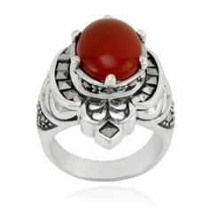 Sterling Silver Marcasite and Oval Carnelian Cocktail Ring Amazon Curated Collection. $46.00