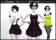 Hayny's sims things - Cat Bodysuit 16 colors (black or white base with...