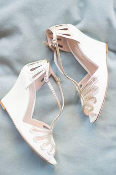 Leila Wedge Ivory Wedding Sandal | Emmy London