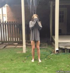 Ice bucket challenge GIF LUAGHING SO HARD ......................but poor girl