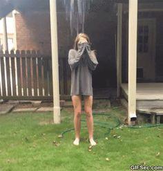 Ice bucket challenge GIF LUAGHING SO HARD ......................but poor girl