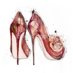 Nicola Patten fashion illustration - red watercolour shoes
