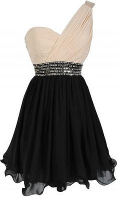 One Shoulder Embellished Chiffon Designer Dress in Cream/Black♥✤ | Keep the Glamour | BeStayBeautiful