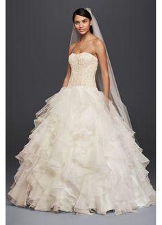 I SAID YES TO THIS DRESS!! Oleg Cassini Strapless Ruffled Skirt Wedding Dress CWG568