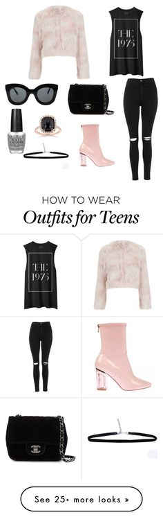 """Pink // The 1975"" by chaneljude on Polyvore featuring RED Valentino, Chanel, Topshop, CÉLINE, Kobelli, OPI, women's clothing, women, female and woman"