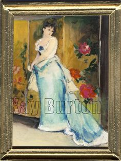 After Rogelio De Egusquiza Barrena (1845 – 1915)   A miniature portrait of a Lady in a Blue Dress after the Spainish painter,Rogelio de Egusquiza Barrena.  A series of his fantastic Wagnerian etchings were published in England in 1894. In 1898 he was elected an Associate of the Royal Society of Painter-Etchers and Engravers    . Size approx. 68mm x 88mm (2 5/8