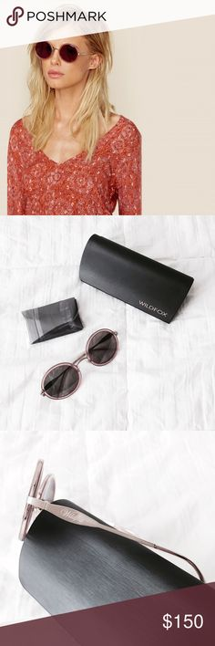 """ᴡɪʟᴅғᴏx ʀʏᴅᴇʀ sᴜɴɴɪᴇs NWT Wildfox Ryder sunnies in the color """"rosewater."""" Delicate baby pink with gold hardware. These sunnies feature a round frame for a vintage look. Box, hard case, and cleaning cloth are included. Never worn, just unwrapped the sunnies to show details.   ‣CR39 Optical Grade Lenses ‣3 Barrel  ғɪᴛ: ‣Eye width: 50mm  ‣Bridge Width: 17mm ‣Temple length: 35mm  ✨Pet friendly home ✨Please ask questions before purchase ✨Reasonable offers welcomed ✨Bundle to save more Wildfox…"""