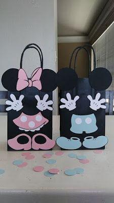 Aprende cómo hacer bolsas de Mickey y Minnie Mouse para cumpleaños ~ Mimundomanual