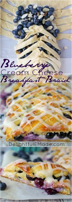 Meet your new favorite breakfast pastry! This super-simple Blueberry Cream Chee., Food And Drinks, Meet your new favorite breakfast pastry! This super-simple Blueberry Cream Cheese Breakfast Braid is made from store-bought crescent sheets, along wit. Cream Cheese Breakfast, Breakfast Pastries, Breakfast Dishes, Breakfast Casserole, Puff Pastries, Sweet Breakfast, Breakfast Tailgate Food, Yummy Breakfast Ideas, Group Breakfast