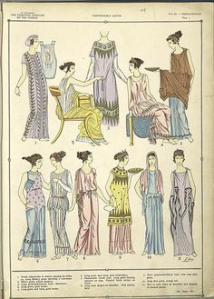 The fine draperies of the Greco-Roman costumes. Research board- secondary source drawings of clothing style. Inspiration for rapunzel especially from the bottom right corner dress Greek Fashion, Roman Fashion, Historical Costume, Historical Clothing, Historical Dress, Ancient Rome, Ancient Greece, Greek Dress, Roman Dress