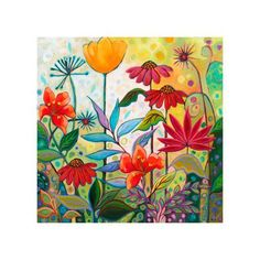 size: Giclee Print: Botanical I by Peggy Davis : This exceptional art print was made using a sophisticated giclée printing process, which deliver pure, rich color and remarkable detail. Flower Art Drawing, Garden Mural, Flower Mural, Folk Art Flowers, Fence Art, Mural Art, Outdoor Art, Mellow Yellow, Whimsical Art