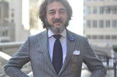 grey pinstripe suit meastro back italian italy style men