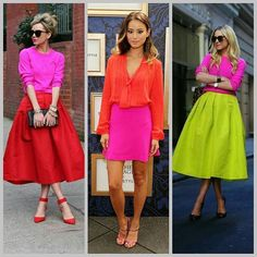 Love love these looks!! S xxx #colours #colourblocking #hotpink #midiskirt #midiskirt #ootn #ootd #racingstyle #goingout #neon Colour Combinations Fashion, Colour Blocking Fashion, Color Blocking Outfits, Fashion Colours, Colorful Fashion, Estilo Fashion, Look Fashion, Ideias Fashion, Fashion Beauty