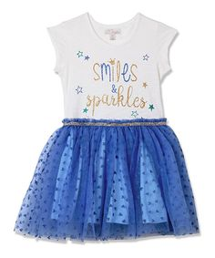 Take a look at this White & Blue 'Sparkles' Tutu Dress - Infant, Toddler & Girls today!