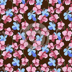 Vector seamless pattern with orchid