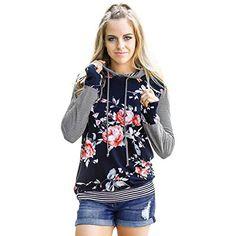 2c249672daa Women Floral Striped Hooded Tops Women Autumn 2017 Long Sleeve T-Shirt  Loose Cas