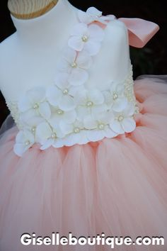 Flower girl dress. Peach with Ivory Flower and by giselleboutique, $85.00