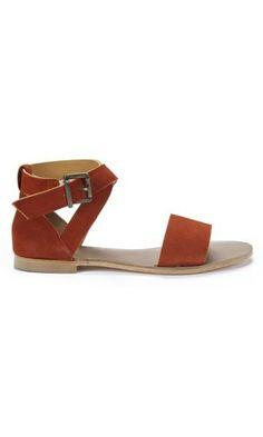 Dark orange sandals Bensimon side