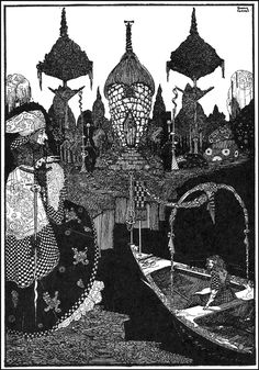 """""""'How did you manage to come on the great rolling river?'"""" --- THE SNOW QUEEN. --- Harry Clarke Illustrations: Fairy Tales by Hans Christian Andersen Harry Clarke, Illustrations, Illustration Art, Andersen's Fairy Tales, Aubrey Beardsley, Art Japonais, Irish Art, Fairytale Art, Hans Christian"""