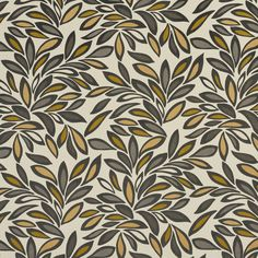 Beige and Grey Foliage Leaf Linen and Microfiber Upholstery Fabric