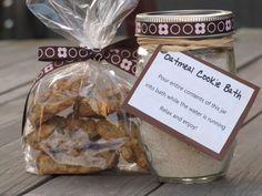 Oatmeal Cookie Bath: 1 cup rolled oats-1/2 cup baking soda-1/2 teaspoon ground cinnamon-1 tablespoon vanilla extract