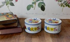 Pair of Vintage Tins  , Retro Tins , Collectables, Storage solutions. Old Tins, Rustic tins. by Route46Vintage on Etsy