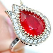 SALEsterling silverNatural red ruby white topaz by AHSENGIFTS, $145.00