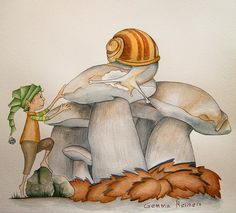 Duende y caracol edulis. Mushroom Drawing, Mushroom Art, Succulents Wallpaper, Botanical Illustration, Watercolour, Herbalism, Stuffed Mushrooms, Creative, Cute