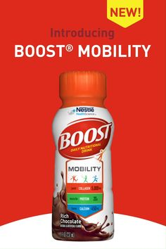 Introducing BOOST® Mobility Daily Nutritional Drink! BOOST® Mobility drink will help support the key elements that keep you moving comfortably. Designed with nutrients to help support joints, muscles, bones and cartilage, each bottle contains 5,000 mg of collagen peptides for joint comfort, 20 g of protein for muscle health, calcium, vitamin D and magnesium for bone health, vitamin C and manganese for cartilage support, plus 27 essential vitamins and minerals to help you be your best. Quinoa Chili, Quinoa Vegan, Protein Shakes, Yoga Inspiration, Superfoods, Wen Hair Care, Nutrition Drinks, Nutrition Bars, Animal Nutrition