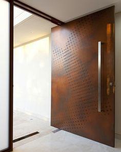 a textured wooden main door design Door Design Interior, Interior Barn Doors, Exterior Doors, Unique Front Doors, Modern Front Door, Front Entry, Modern Entrance, Pivot Doors, Entry Doors